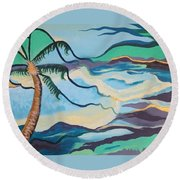 Jamaican Sea Breeze Round Beach Towel