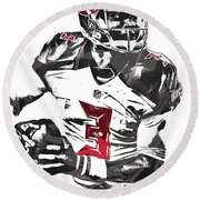 Round Beach Towel featuring the mixed media Jameis Winston Tampa Bay Buccaneers Pixel Art by Joe Hamilton