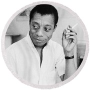 Round Beach Towel featuring the photograph James Baldwin by Granger