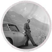 James Bond And His Aston Martin Round Beach Towel