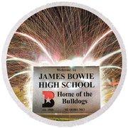 James Bowie High School Round Beach Towel