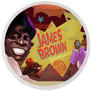 James Brown Round Beach Towel by Nelson Dedos Garcia