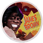 James Brown Round Beach Towel