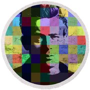James Dean Actor Hollywood Pop Art Patchwork Portrait Pop Of Color Round Beach Towel by Design Turnpike