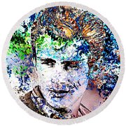 Round Beach Towel featuring the photograph James Dean In Pop Art by Annie Zeno