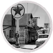 James Dean On Route 66 Round Beach Towel by David Lee Thompson