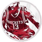 James Harden Houston Rockets Pixel Art 3 Round Beach Towel