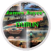 James Joyce's Dublin Round Beach Towel