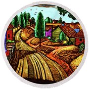 James Lesesne Wells' Farmlands Round Beach Towel