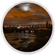 James River At Night Round Beach Towel