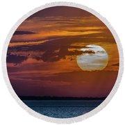 James River Sunset Round Beach Towel