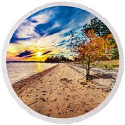 James River Sunset Round Beach Towel