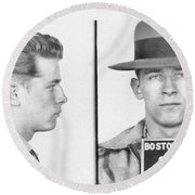 Round Beach Towel featuring the mixed media James Whitey Bulger Mug Shot by Dan Sproul
