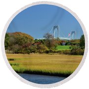 Jamestown Marsh With Pell Bridge Round Beach Towel