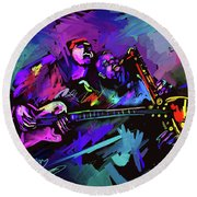 Round Beach Towel featuring the painting Jammin' The Funk by DC Langer