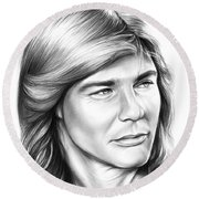 Jan Michael Vincent Round Beach Towel by Greg Joens