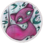 Jane Cat Round Beach Towel by Abril Andrade Griffith