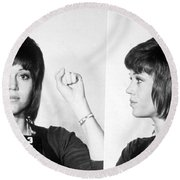 Jane Fonda Mug Shot Horizontal Round Beach Towel