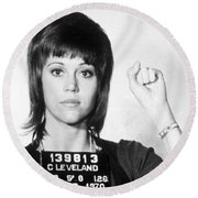 Jane Fonda Mug Shot Vertical Round Beach Towel