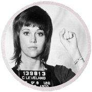 Jane Fonda Mug Shot Vertical Round Beach Towel