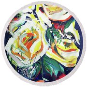 Round Beach Towel featuring the painting Janes Roses II by John Jr Gholson