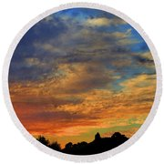 Round Beach Towel featuring the photograph Jangly Sunset by Mark Blauhoefer