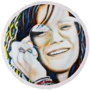 Round Beach Towel featuring the painting Janis Joplin Pop Art Portrait by Bob Baker