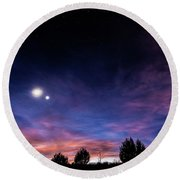 January 31, 2016 Sunset Round Beach Towel