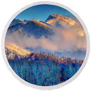 January Evening Truchas Peak Round Beach Towel by Anastasia Savage Ealy