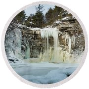 January Morning At Awosting Falls Round Beach Towel
