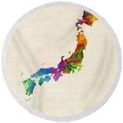 Japan Watercolor Map Round Beach Towel