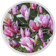 Japanese Blooms Round Beach Towel