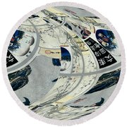 Japanese Bold Abstract Round Beach Towel