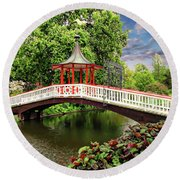 Japanese Bridge Garden Round Beach Towel