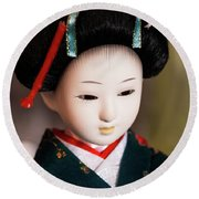 Japanese Doll Round Beach Towel