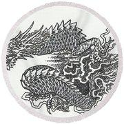 Japanese Dragon Round Beach Towel