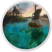 Japanese Fable 2 Round Beach Towel