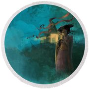 Japanese Fable Round Beach Towel
