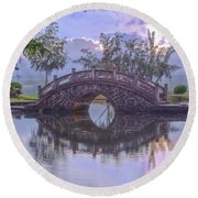 Japanese Footbridge Round Beach Towel
