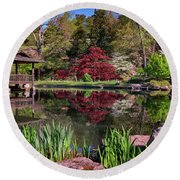 Round Beach Towel featuring the photograph Japanese Garden At Maymont by Rick Berk