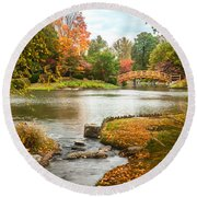Japanese Garden Bridge Fall Round Beach Towel