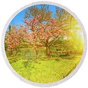 Japanese Garden Cherry Blossom Round Beach Towel