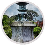 Japanese Garden Round Beach Towel by Judy Wolinsky