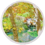 Japanese Garden Pond Round Beach Towel