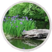 Japanese Gardens - Spring 02 Round Beach Towel by Pamela Critchlow