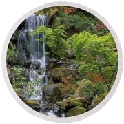 Japanese Garden Waterfall Round Beach Towel