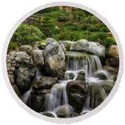 Japanese Garden Waterfalls Round Beach Towel
