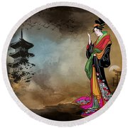 Japanese Girl With A Landscape In The Background. Round Beach Towel