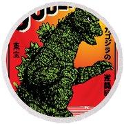 Japanese Godzilla  Round Beach Towel