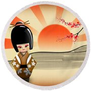 Round Beach Towel featuring the digital art Japanese Kokeshi Doll by John Wills